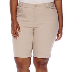 St. John's Bay® Twill Bermuda Shorts-Plus (11.5
