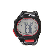 Asics Ah01 Heart Rate Monitor Unisex Black Strap Watch-Cqah0101y