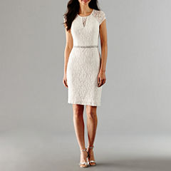 Scarlett Short Sleeve Beaded Sheath Dress