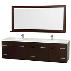 Centra 80 inch Double Bathroom Vanity; White Man-Made Stone Countertop; Square Porcelain UndermountSinks; and 70 inch Mirror