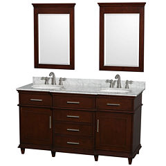 Berkeley 60 inch Double Bathroom Vanity; White Carrera Marble Top with White Undermount Oval Sinks and 24 inch Mirrors