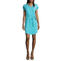 Liz Claiborne Short Sleeve Shirt Dress