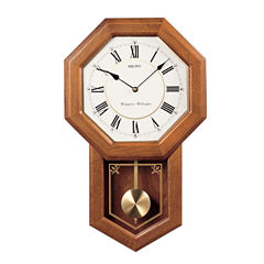 Seiko® Solid Oak Chime Schoolhouse Wall Clock With Pendulum Qxh110blh