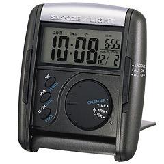 Seiko® Get Up and Glow Travel Black Alarm Clock Qhl004klh