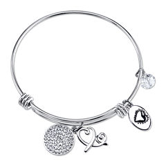 Footnotes Too® Stainless Steel Friend Charm Bangle Bracelet