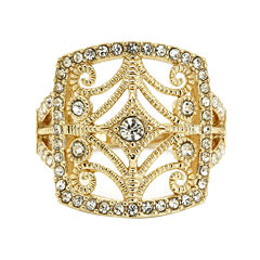 city x city® Crystal Filigree Rose-Tone Cocktail Ring