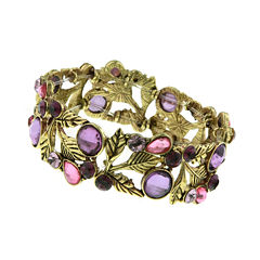 1928® Jewelry Gold-Tone Purple Leaf Stretch Bracelet