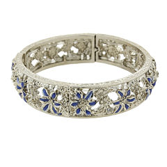 1928® Jewelry Silver-Tone Blue Enamel Flower Stretch Bracelet
