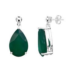 Genuine Green Onyx Sterling Silver Earrings