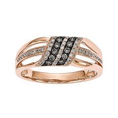 White & Color-Enhanced Champagne Diamond 14K Rose Gold Ring