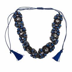 Jardin Womens Blue Crystal Brass Choker Necklace