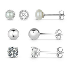 Lab-Created White Sapphire Sterling Silver Earring Jackets With 5MM Pearl, 5MM Sterling Silver Ball, and 5MM Lab-Created White Sapphire 4-Piece Earrings Set