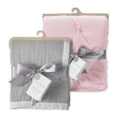 Muslin Textured Blanket and Crib Comforter Set