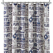 Home Expressions™ Vinyl Records Shower Curtain Set