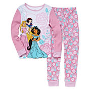 Disney Collection 2-Pc. Princess Long-Sleeve Cotton Pajama Set
