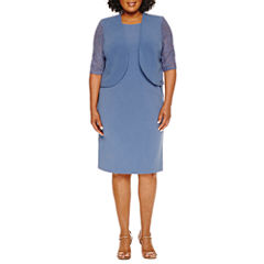 Maya Brooke 3/4 Sleeve Lace Jacket Dress-Plus