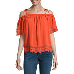 by&by Elbow Sleeve Boat Neck Knit Blouse-Juniors