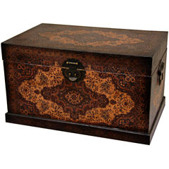 Oriental Furniture Olde-Worlde Baroque Storage Trunk