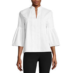Worthington 3/4 Sleeve Scoop Neck Woven Blouse