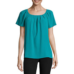 Worthington Short Sleeve Scoop Neck Georgette Blouse
