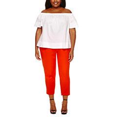 Worthington Short Sleeve Off The Shoulder Shirting or Curvy Slim Ankle Pant-Plus