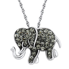 Sterling Silver Black Crystal Elephant Pendant Necklace