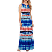 Donna Ricco Tie Dye Stripe Keyhole Maxi Dress