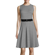 Danny & Nicole® Sleeveless Stripe Belted Fit-and-Flare Dress