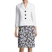 Le Suit® Plain Weave Jacket with Floral Soft Skirt