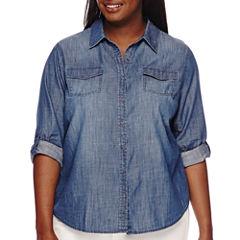 Arizona Long-Sleeve Denim Shirt - Juniors Plus