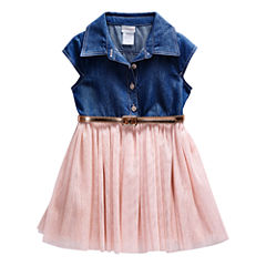 Young Land Short Sleeve Fitted Sleeve Tutu Dress - Toddler Girls