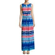 Donna Ricco Sleeveless Watercolor Stripe Maxi Dress - Petite