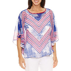 Lark Lane Elbow Sleeve Scoop Neck Chiffon Blouse