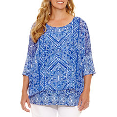 Lark Lane Viva Antigua Elbow Sleeve Layered Top Plus