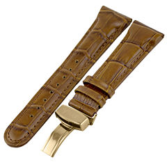 JBW Womens  Brown And Gold Tone Genuine Calfskin Leather Watch Band