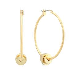 Liz Claiborne® Gold-Tone Bead Hoop Earrings