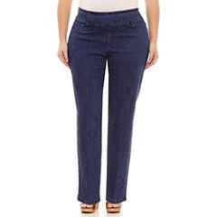 Lark Lane Ll 0617 Must Haves Woven Pull-On Pants-Plus