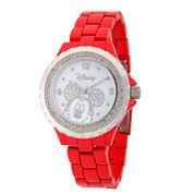 Disney® Womens Mickey Minnie Red And Silver ToneGlitz Bracelet Watch