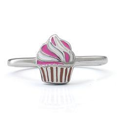 Hallmark Kids Sterling Silver Enamel Cupcake Ring