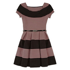 Knit Works Marilyn Neck Belted Skater Dress - Girls' 7-16