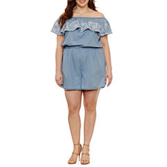 Boutique + Short Sleeve Romper-Plus