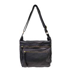 St. John's Bay® Pearlized Washed Multi-Zipper Hobo Crossbody Bag
