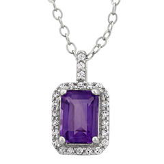 Genuine Amethyst & Cubic Zirconia Sterling Silver Pendant Necklace