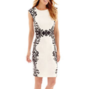 Liz Claiborne® Cap-Sleeve Scroll Mirror Print Scuba Knit Sheath Dress