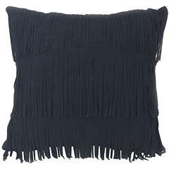 Faux-Suede Fringe Decorative Pillow
