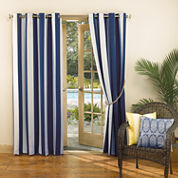 Sun Zero™ Leeward Indoor/Outdoor Woven Stripe Grommet-Top Curtain Panel