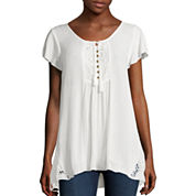 Unity™ Short-Sleeve Lace Henley Top