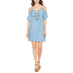 Spense Elbow Sleeve Embroidered Shift Dress
