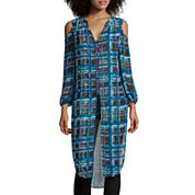 I 'Heart' Ronson® 3/4-Sleeve Plaid Button-Front Duster Shirt