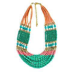 Decree® Multicolor Bead Gold-Tone Statement Necklace